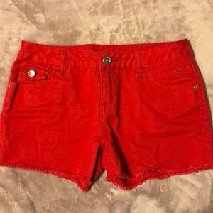 Justice size 16 red denim shorts